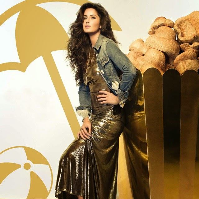 katrina kaif , in namrata joshi pura , dress, pero byan ee tha ro ra , jacket and maria francesca pepe , necklace on vogue india ,,  Katrina Kaif Golden Dress hot Pics from Vogue Magazine December 2014 Edition