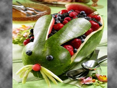 rabbit watermelon carving fruit arts