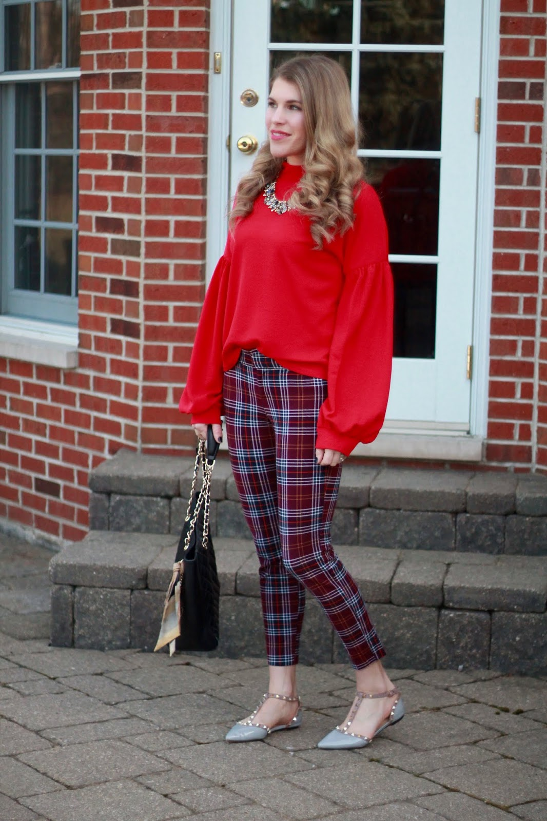 red lantern sleeve top, burgundy plaid pixie pants, grey studded flats, black quilted leather tote, statement necklace