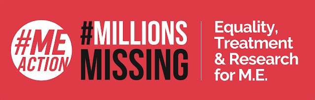 "Millions Missing Dublin M.E Red Protest Banner. ""Equality, Treatment & Research for M.E."