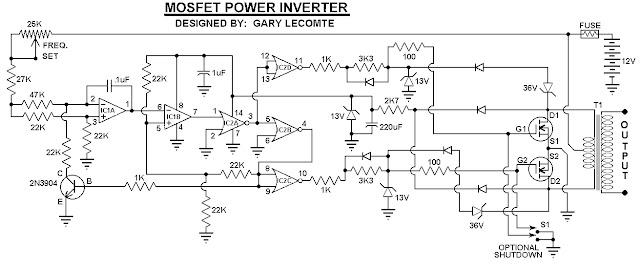 skema rangkaian Inverter 500Watt