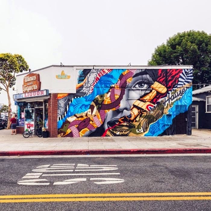 After a project with Versace and POW! WOW! Hawaii in Honolulu, Tristan Eaton is back in the Los Angeles area to collaborate on this new piece with Richard Henderson.