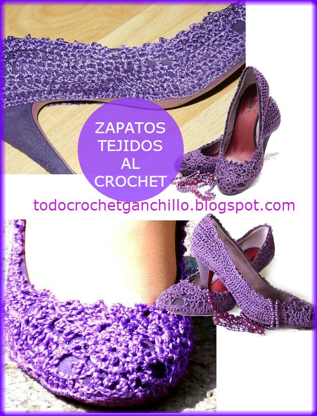 Zapatos de dama tejidos al crochet