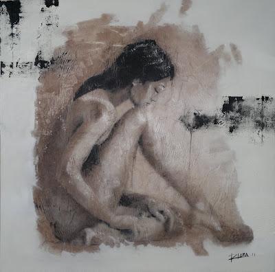 Reposo. Técnica mixta al acrílico y pastel sobre lienzo. 120cm x 120cm