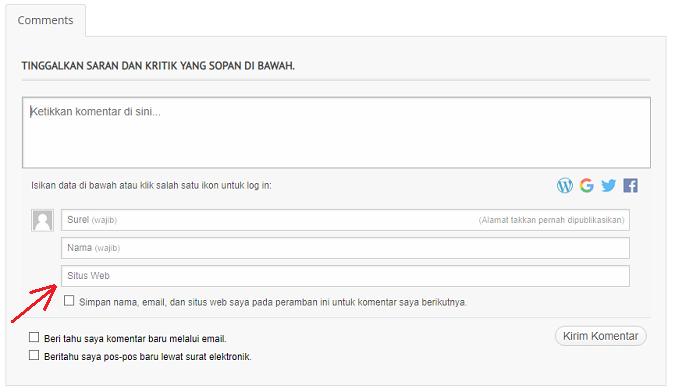 cara menghilangkan kolom situs website url pada komentar blog wordpress wp