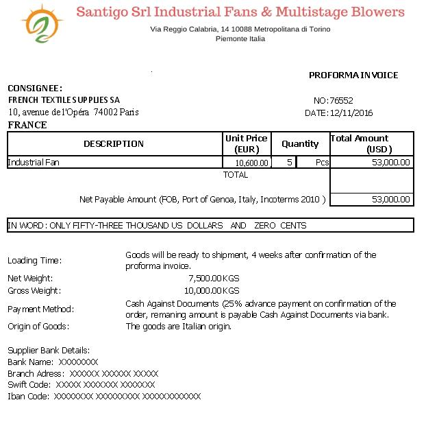 Proforma Fatura | Proforma Invoice | Örnek | Şablon | Excel | xls | FOB