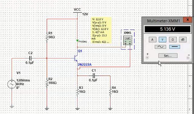 Emitter follower circuit online simulation in Multisim