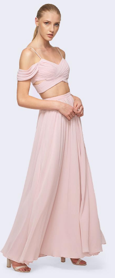 Wrap Bodice with Spaghetti and cut-out Shoulder