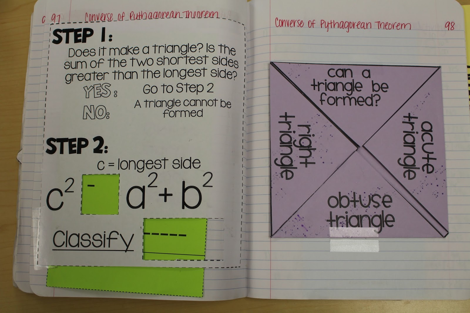 I Re-Made Erin Atwood's Converse Of Pythagorean Theorem Slider (Click Here  For Her Free Slider On Tpt).