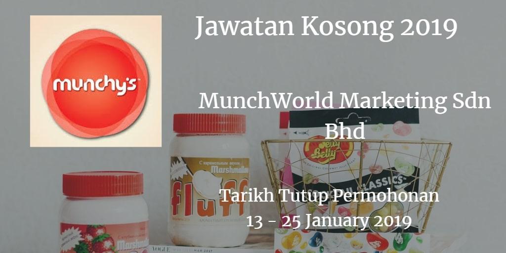 Jawatan Kosong MunchWorld Marketing Sdn Bhd 13 - 25 January 2019