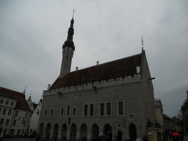 Tallinn's Old Town Hall on a rainy afternoon