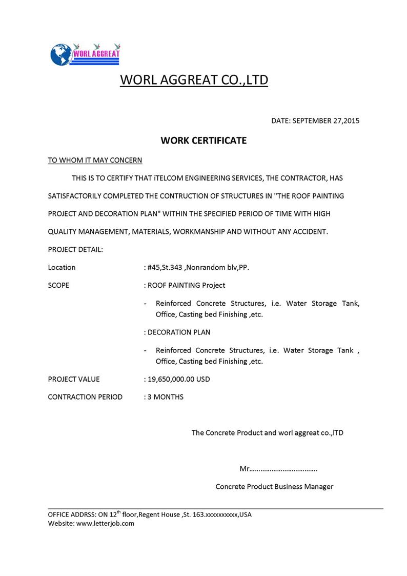 Doc Employee Working Certificate Format work certificate – Work Experience Certificate Template