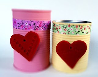 Heart magnets on Upcycled decorated tins