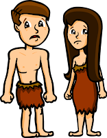 Adam and Eve after the fall. Sad, distraught faces and animal skin clothing for both of them.