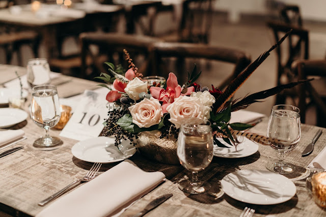 Atlanta Florist, Atlanta Wedding, Bloomin' Bouquets, American Spirit Works, The Stave Room, Florist,  Wedding, Wedding flowers, Orchids, Feathers, Feather Bow Tie, November Wedding, Fall Wedding, Moody Wedding