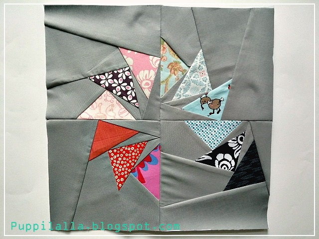 Puppilalla, Trails of Geese, Flying Geese Block, Triangle scraps, Scrap Busting, Improv piecing, Stash Bee, Quilting Bee, Bee Block