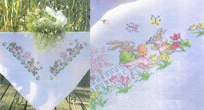 punto croce di tutti i tipi, gratis-Schemi a punto croce teneri coniglietti tovaglietta pasquale