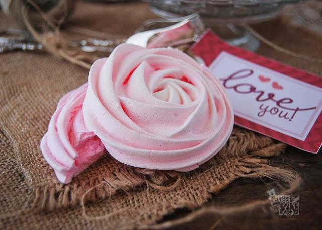rosas de merengue sabor fresa