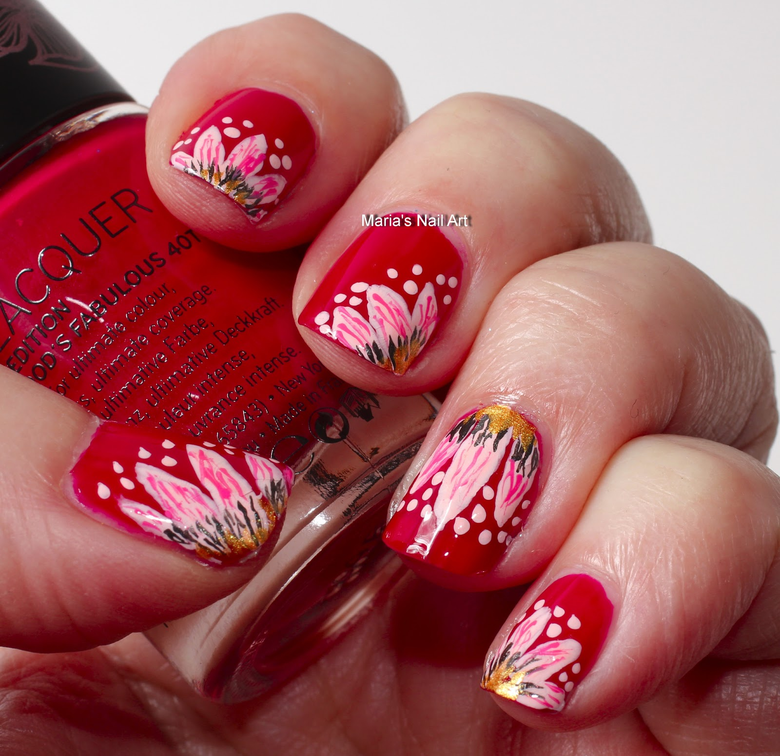 Black Butler Nail Art: Marias Nail Art And Polish Blog: Pink Flowers For The Red