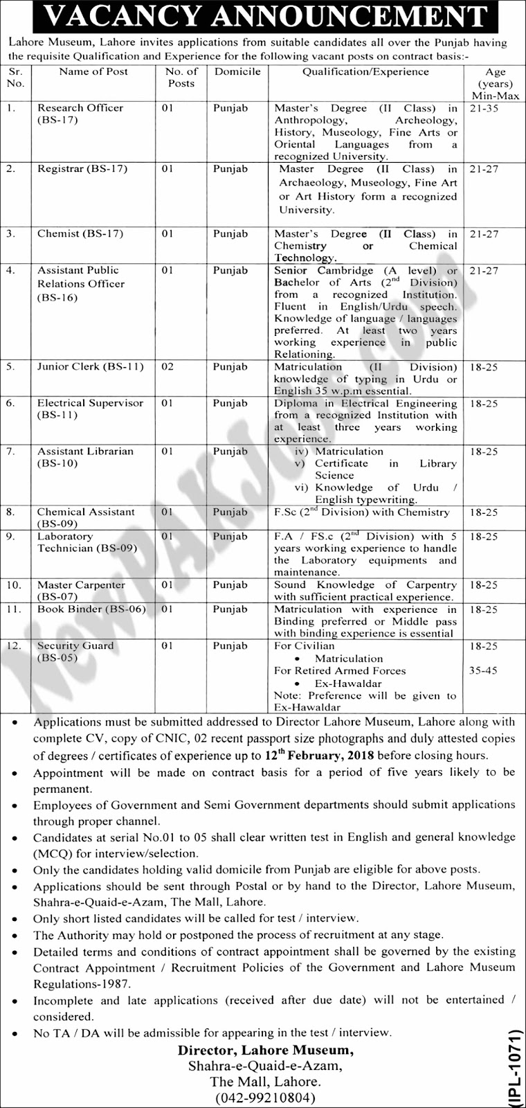Latest New Jobs In Lahore Museum under Govenment of Punjab 2018