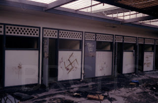 Riot damage to C Wing, Boggo Road Gaol, Brisbane, 1986.
