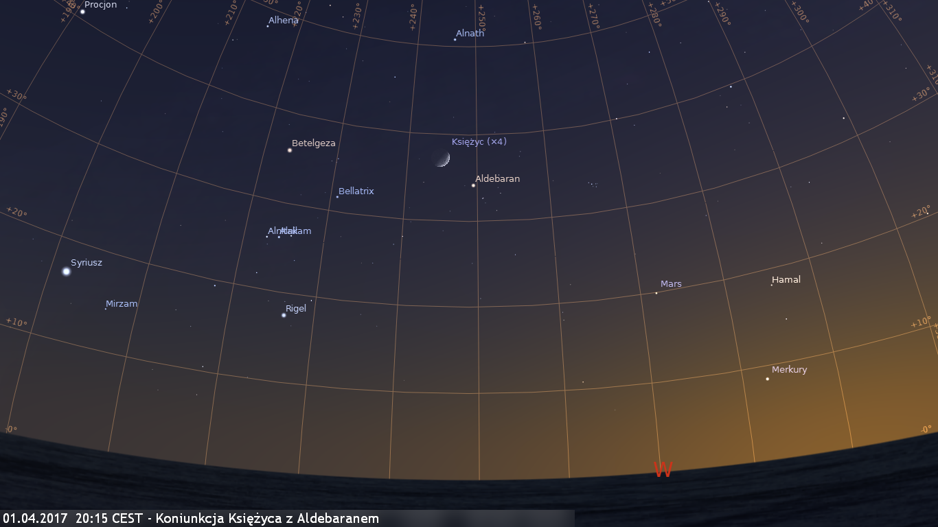 01.04.2017  20:15 CEST - Koniunkcja Księżyca z Aldebaranem