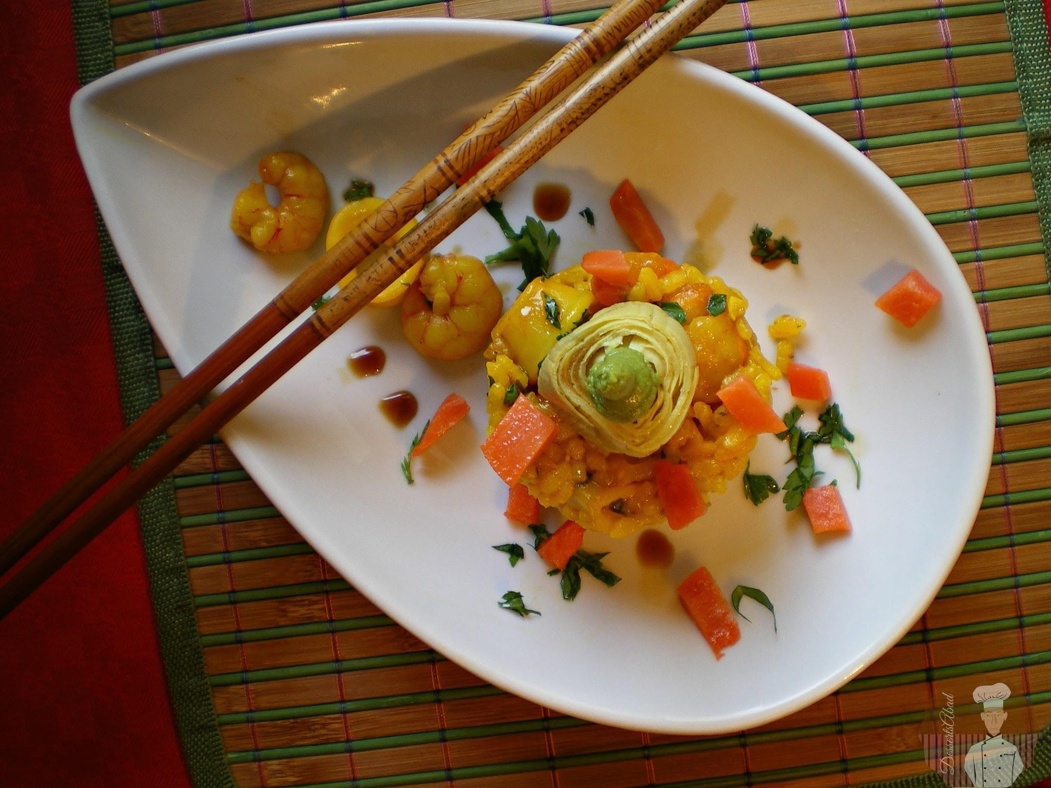 Arroz con calamares y gambas al punto de wasabi