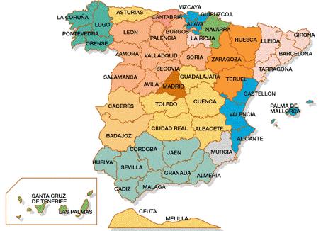 Mapa España Comunidades Autonomas Png.Mapa De Las Comunidades Autonomas De Espana