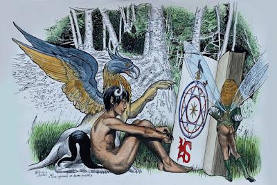 Illustration, faune, griffon, charme puissant, dessin, aquarelle, Rouge cloître, Bruxelles, racines, personnages bizarres,