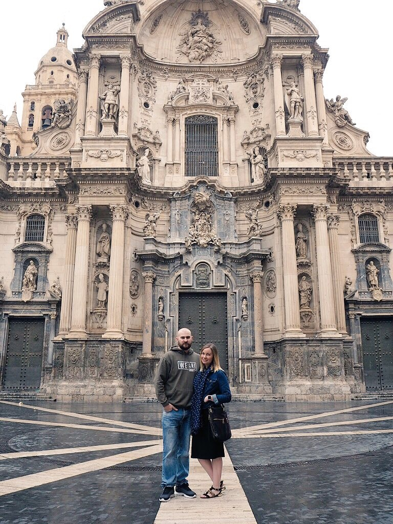 standing outside the santa maria cathedral in Murcia