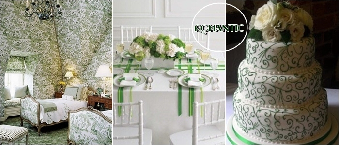 romantic light green cake and wall floral patterns and prints