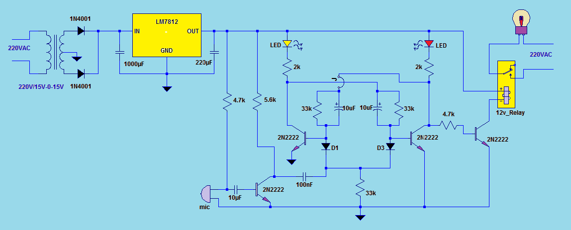 Clap Switch Circuit Electronic Projects
