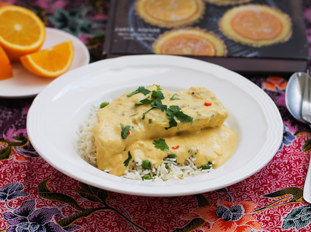Food Lust People Love: The richness of the coconut is complemented by the addition of lime and orange juice in this beautiful curried coconut citrus cod. The tender fish is poached in the flavorful sauce. Make it as spicy or as mild as you like.