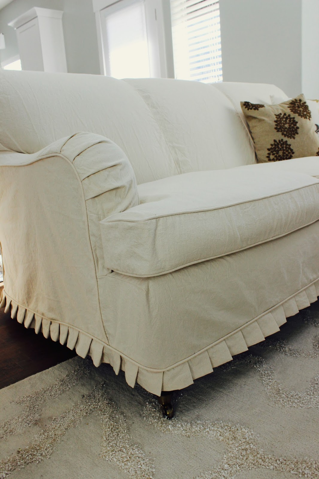 Cream Sofa Arm Covers Gray Sectional For Sale Custom Slipcovers By Shelley