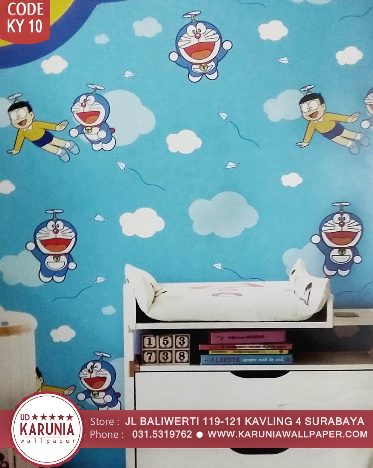 jual wallpaper dinding doraemon