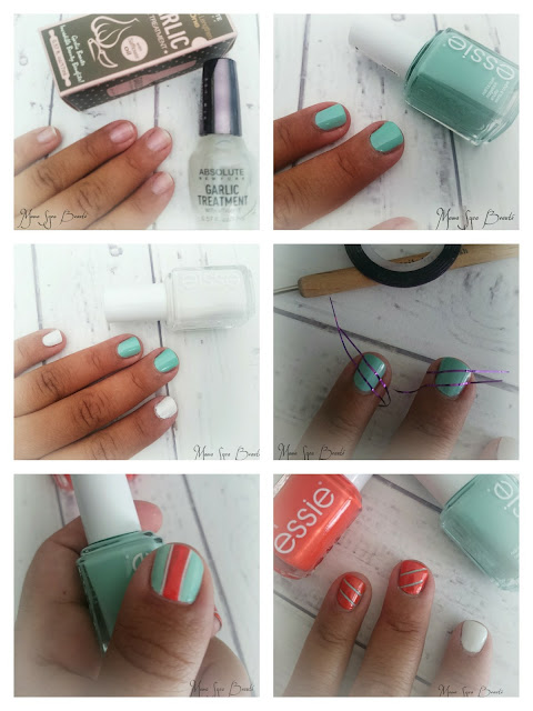 Tuto nail art Mint Candy apple Essie Braziliant Birchbox