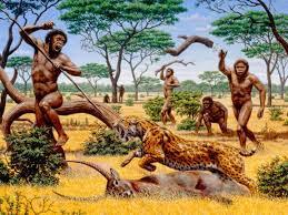 Homem Pré-histórico vivendo entre animais
