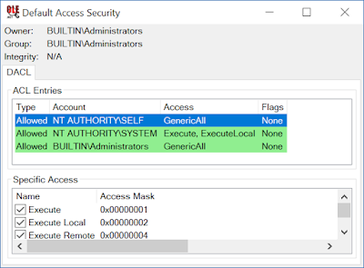 Default COM access security showing NT AUTHORITY\SELF