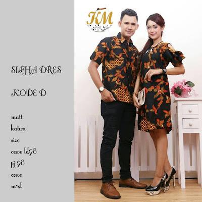 Batik Couple Modern Dress Wanita Sifha kode D Motif Sekar Jagad