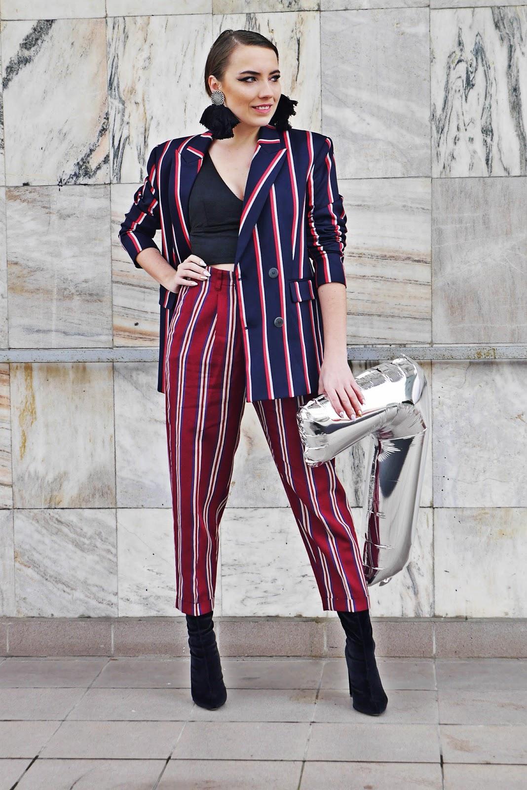 7 urodziny answear.com answear marynarka w paski spodnie w paski mango skarpetkowe botki blog modowy karyn fashion blog