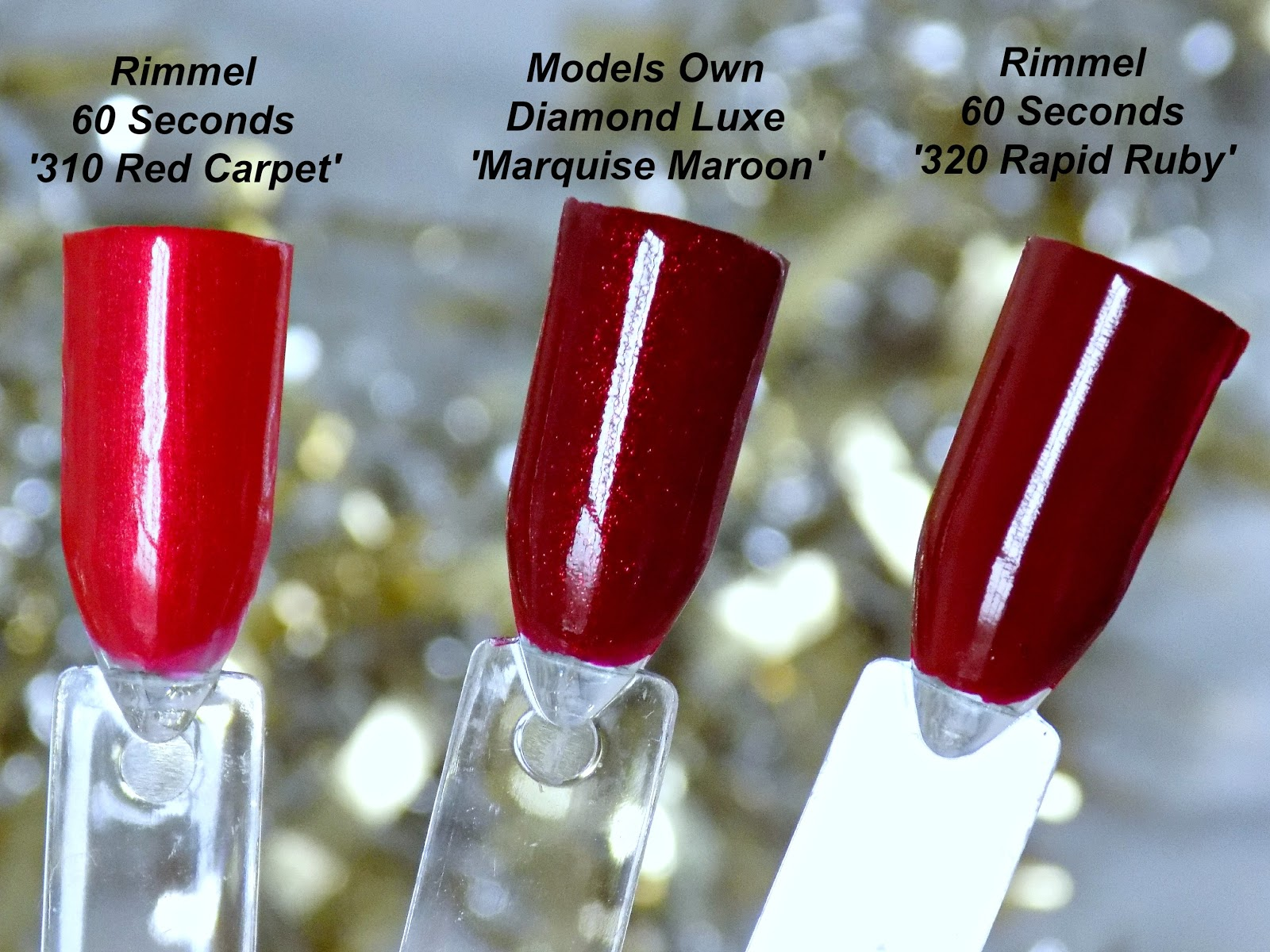 Festive red nail polishes