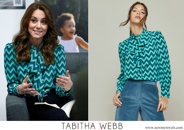 Kate Middleton wore Tabitha Webb Pansy Pussybow in Green Chevron