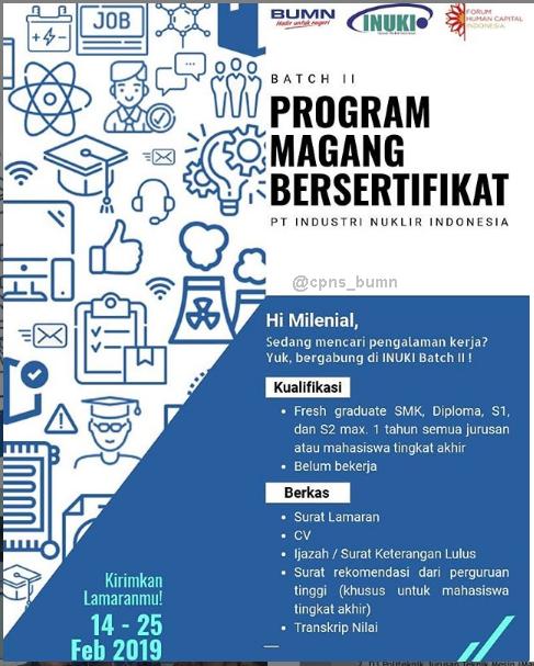 Penerimaan Program Magang PT Industri Nuklir Indonesia (Persero)