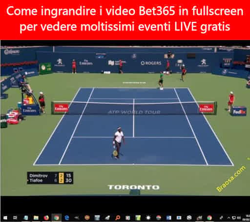 Come ingrandire i video Bet365 delle dirette sportive