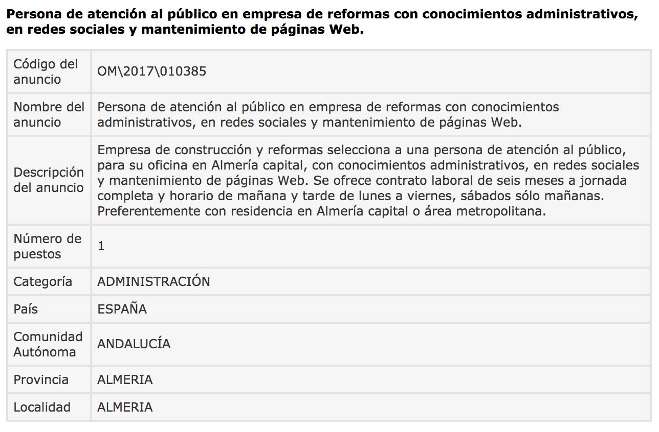 Ofertas de Empleo en España: Atención al público - Almería - photo#20