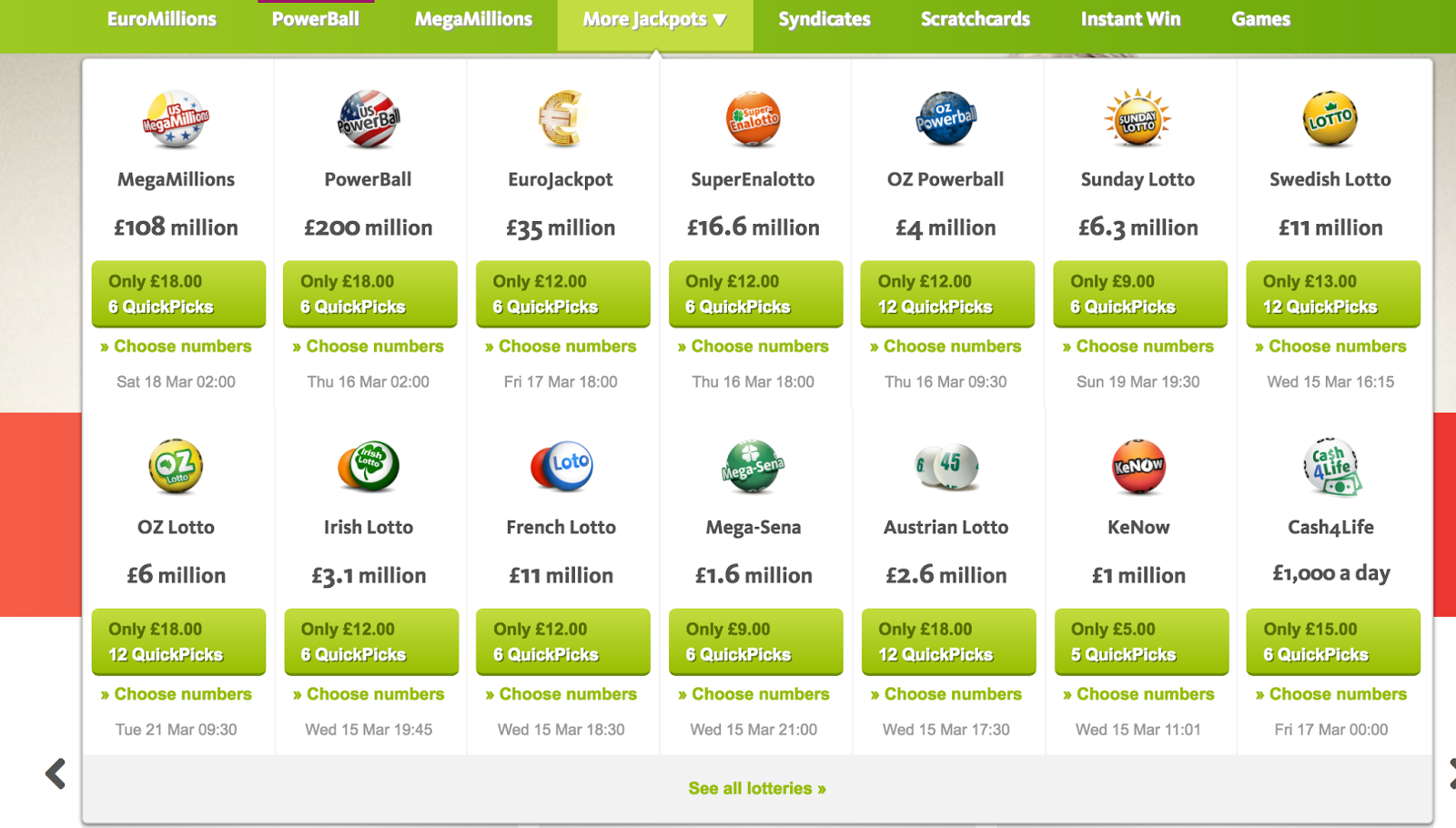 Screenshot showing the various lotteries you can enter at Lottoland