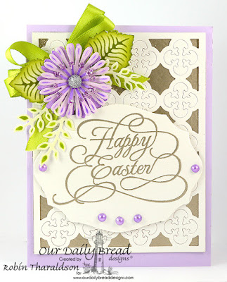 Our Daily Bread Designs Stamp: Flourished Happy Easter, Our Daily Bread Designs Custom Dies: Quatrefoil Pattern, Asters and Leaves, Fancy Foliage, Asters and Leaves, Elegant Ovals