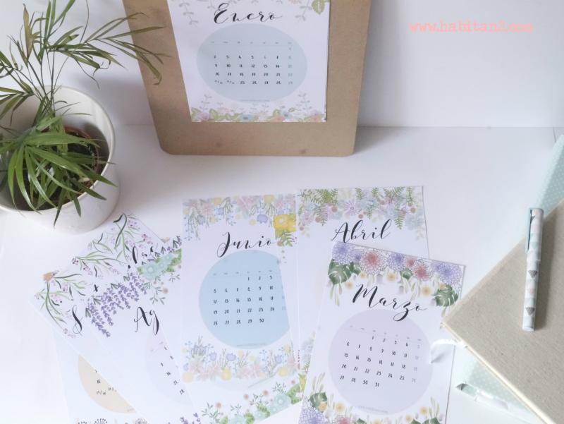 Calendario descargable 2017 diseño de Habitan2 | Diseño digital personalizado | Papelería bonita y decoración handmade