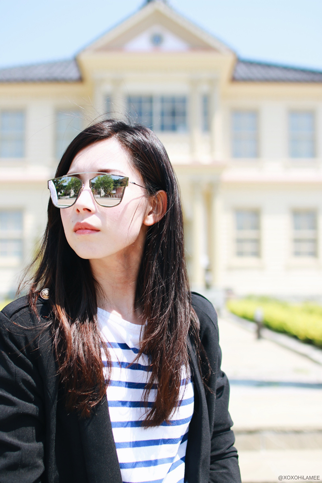 Japanese Fashion Blogger ミズホK 今日のコーデ:マリンジャケット、ブルーストライプTシャツ、オリーブ・デ・オリーブ ジーンズ、ZARAスタッズフラットサンダル、ブラックショルダーバッグ 大人マリンカジュアルコーデ