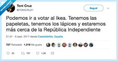 Votar, Ikea, papeletas,lápices, república independiente